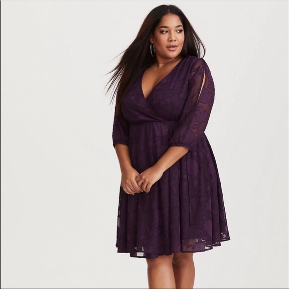 5d32903e85a Torrid Purple Cold Shoulder Floral Lace Wrap Dress